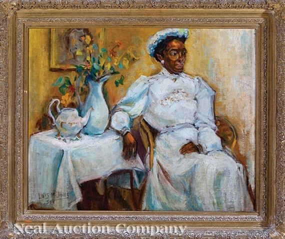 Lois Mailou Jones - Portrait of a Haitian Woman Dressed in White; Creation Date: 1959; Medium: oil on canvas; Dimensions: 20 X 24 in (50.8 X 60.96 cm)