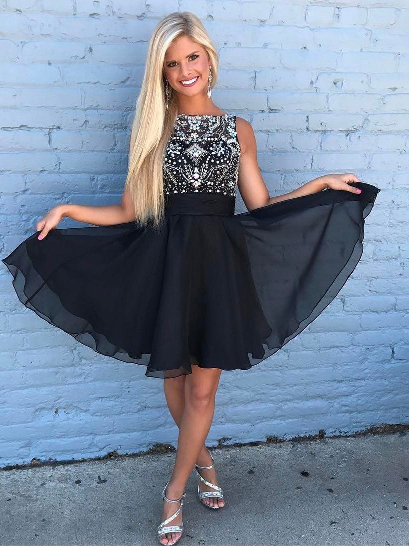 Cute rhinestone beaded chiffon short black homecoming dresses