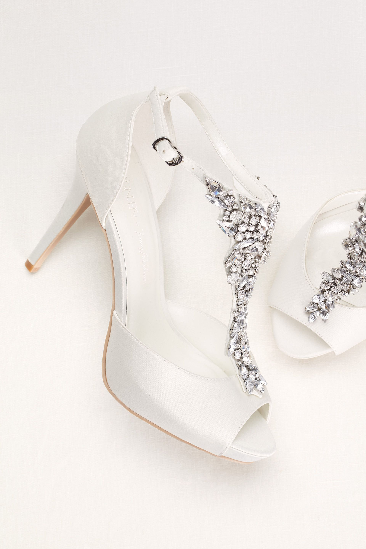 Crystal tstrap peep toe high heel Sparkling wedding