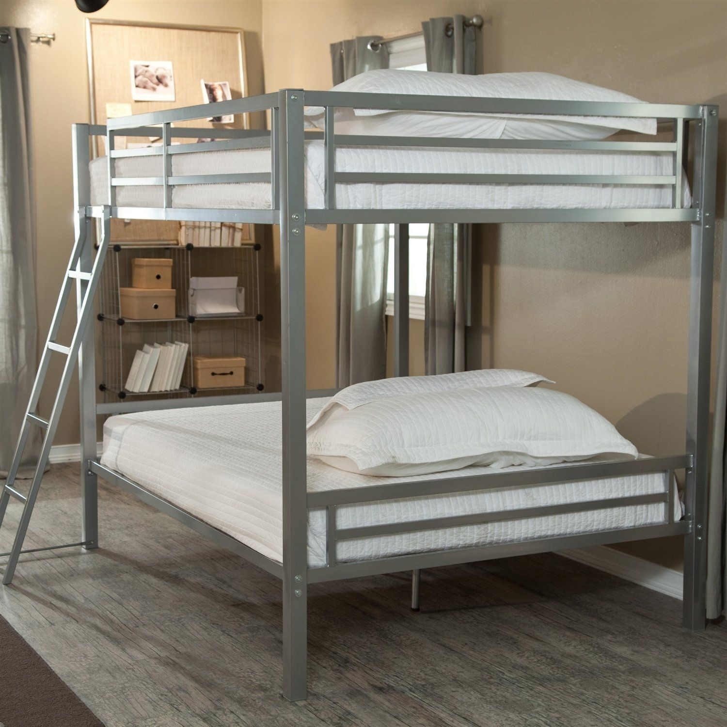 Loft bed plans for full size mattress  Full over Full Size Bunk Bed with Ladder in Silver Metal Finish