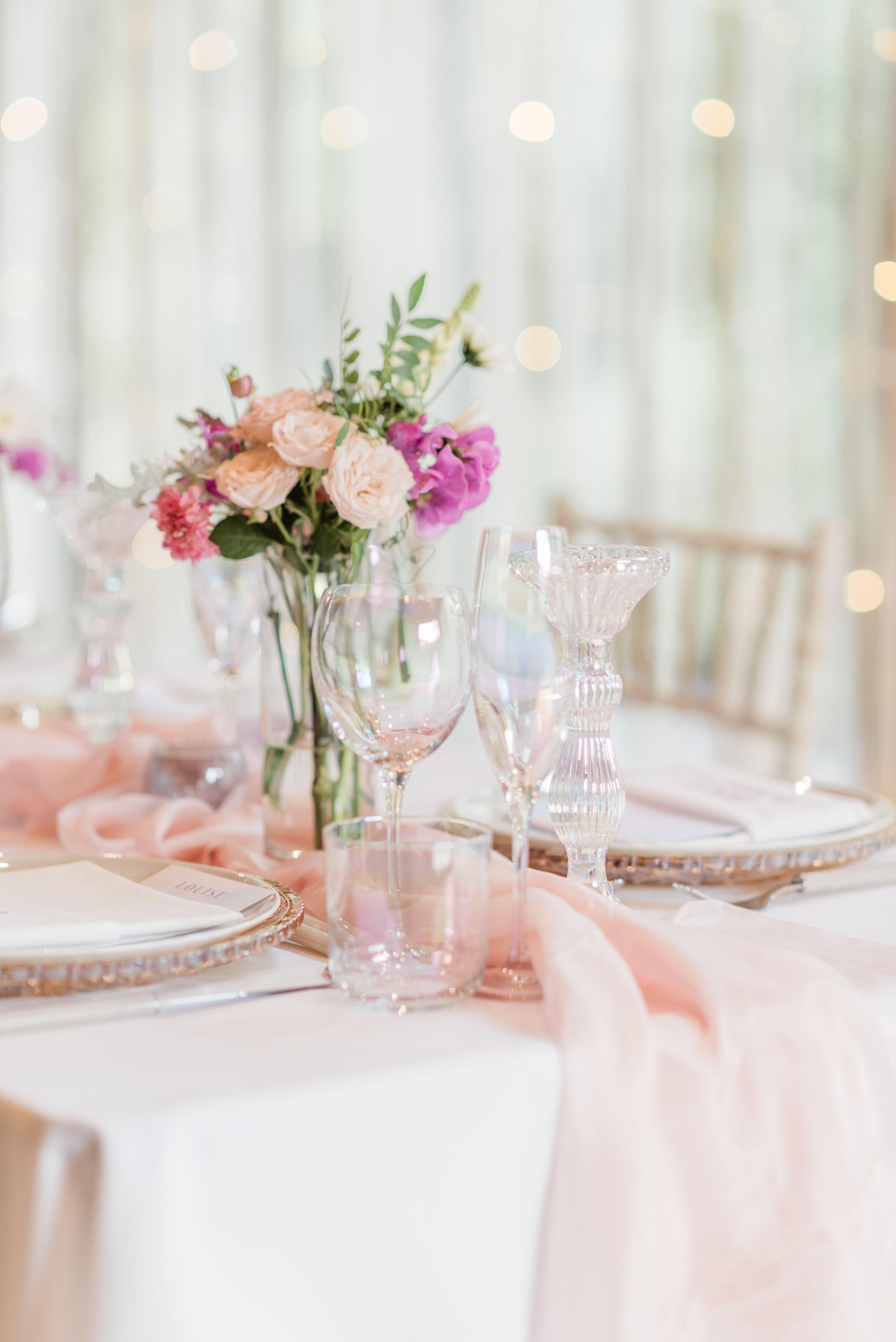 Luminescent Glassware Soft Pastel Wedding Details Pastel Wedding Table Decor Blush Pink Table Runner Unicorn Wedding Wedding Shoot Magical Wedding
