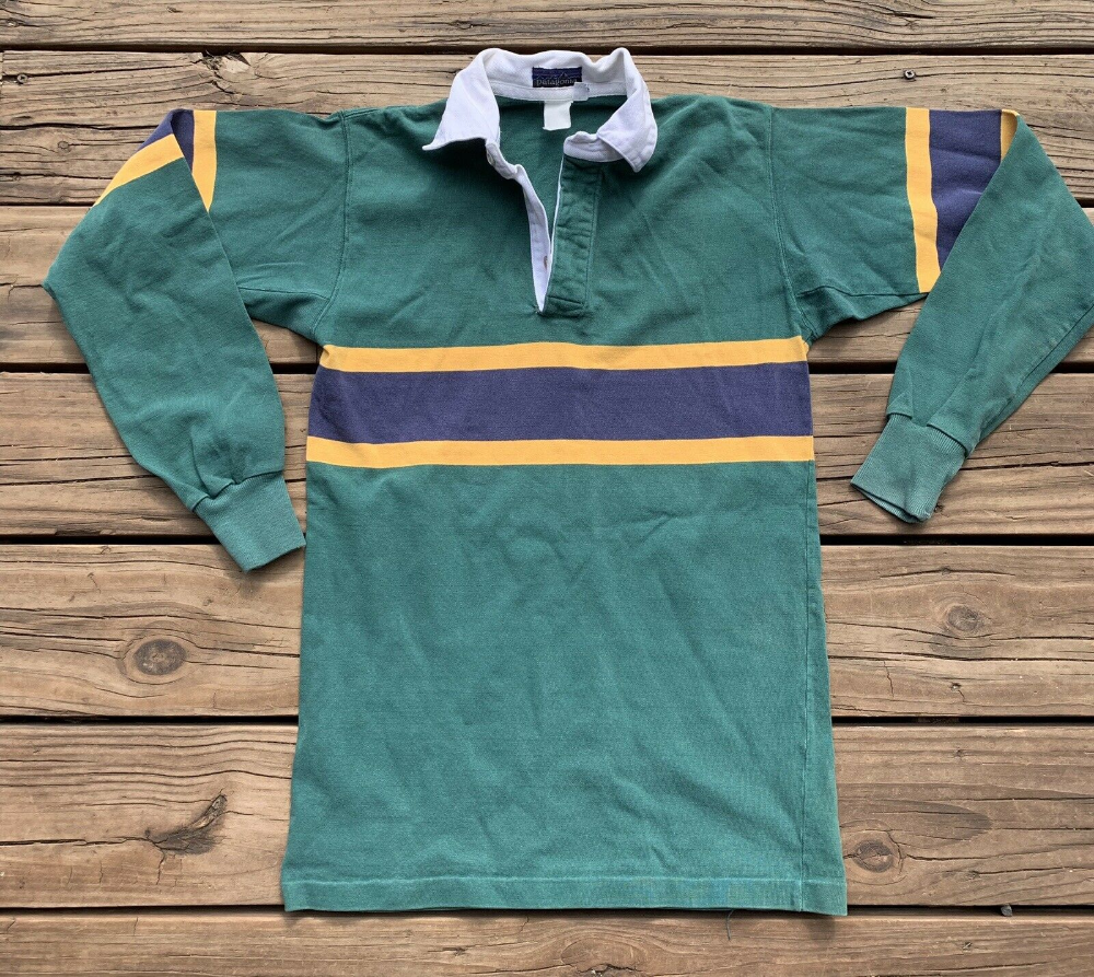 Vintage 1980 S Patagonia Rugby Shirt Striped Green Blue Yellow Mens Small Med Ebay Rugby Shirt Shirts Red And Black Plaid