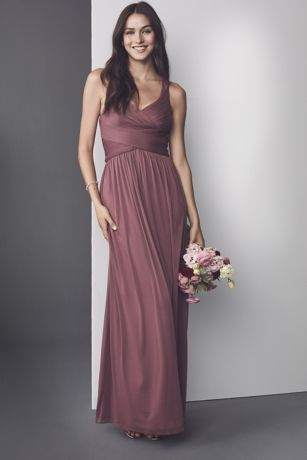 01ba01a926c Mesh Long Bridesmaid Dress with Crisscross Back