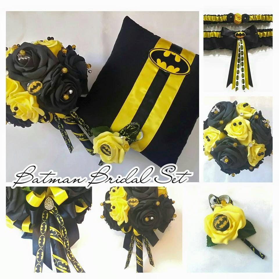 Google themes batman - Batman Themed Brides Bouquet Bridal Set By Scarboroughrose On Etsy