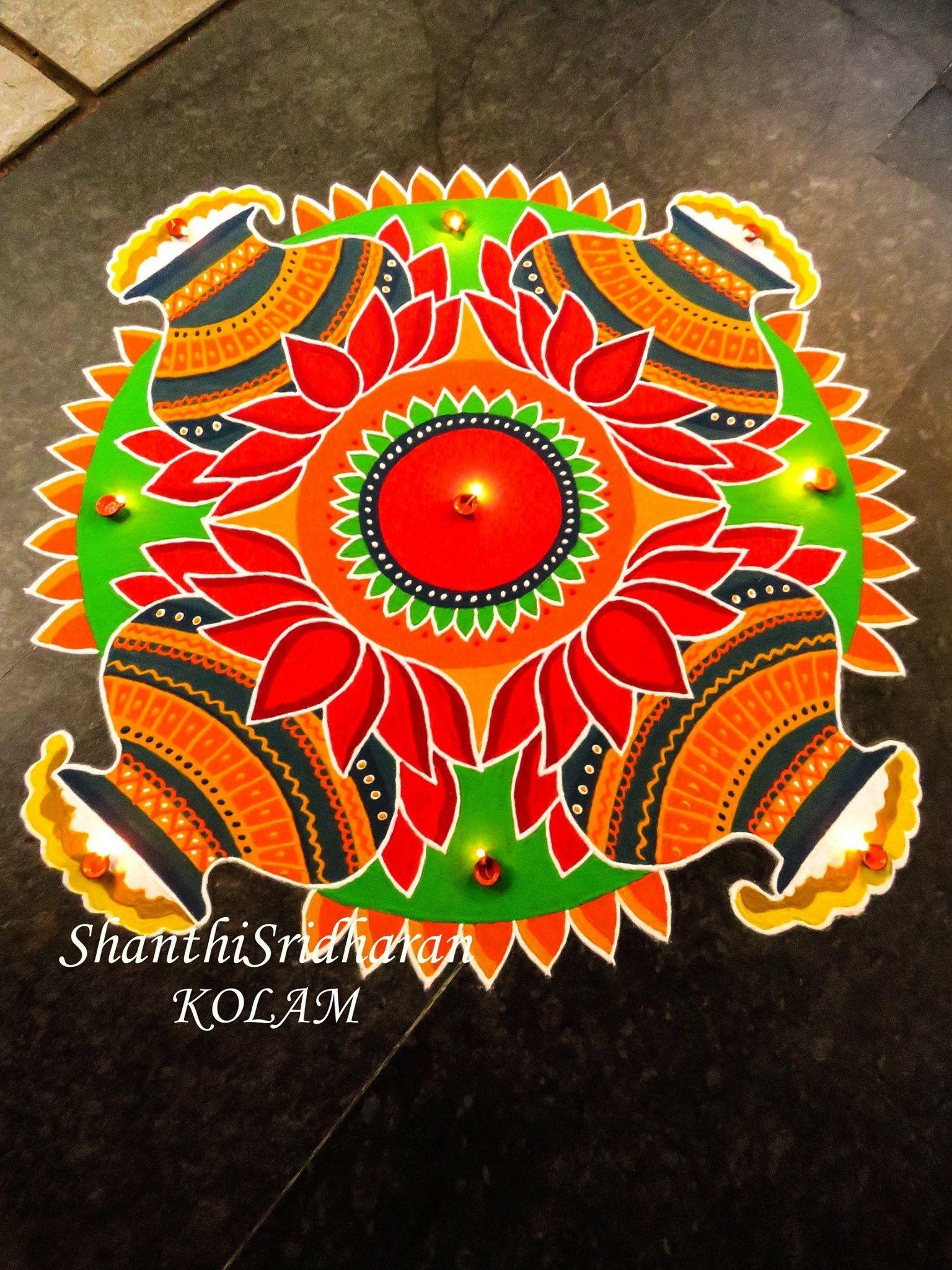 pongalkolampongalorangeredgreenrangoli Rangoli