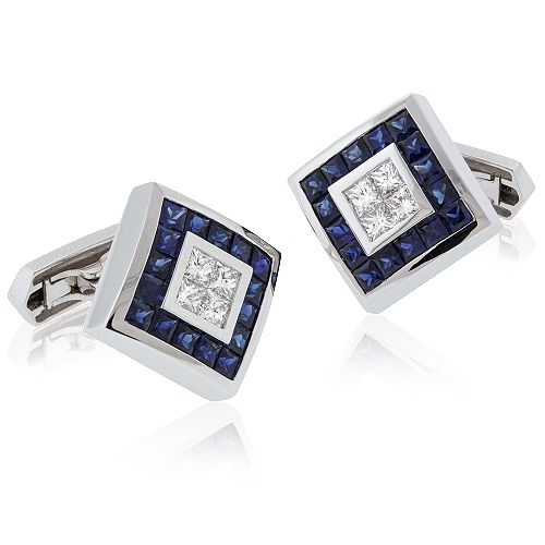 white gold diamond and sapphire cufflinks