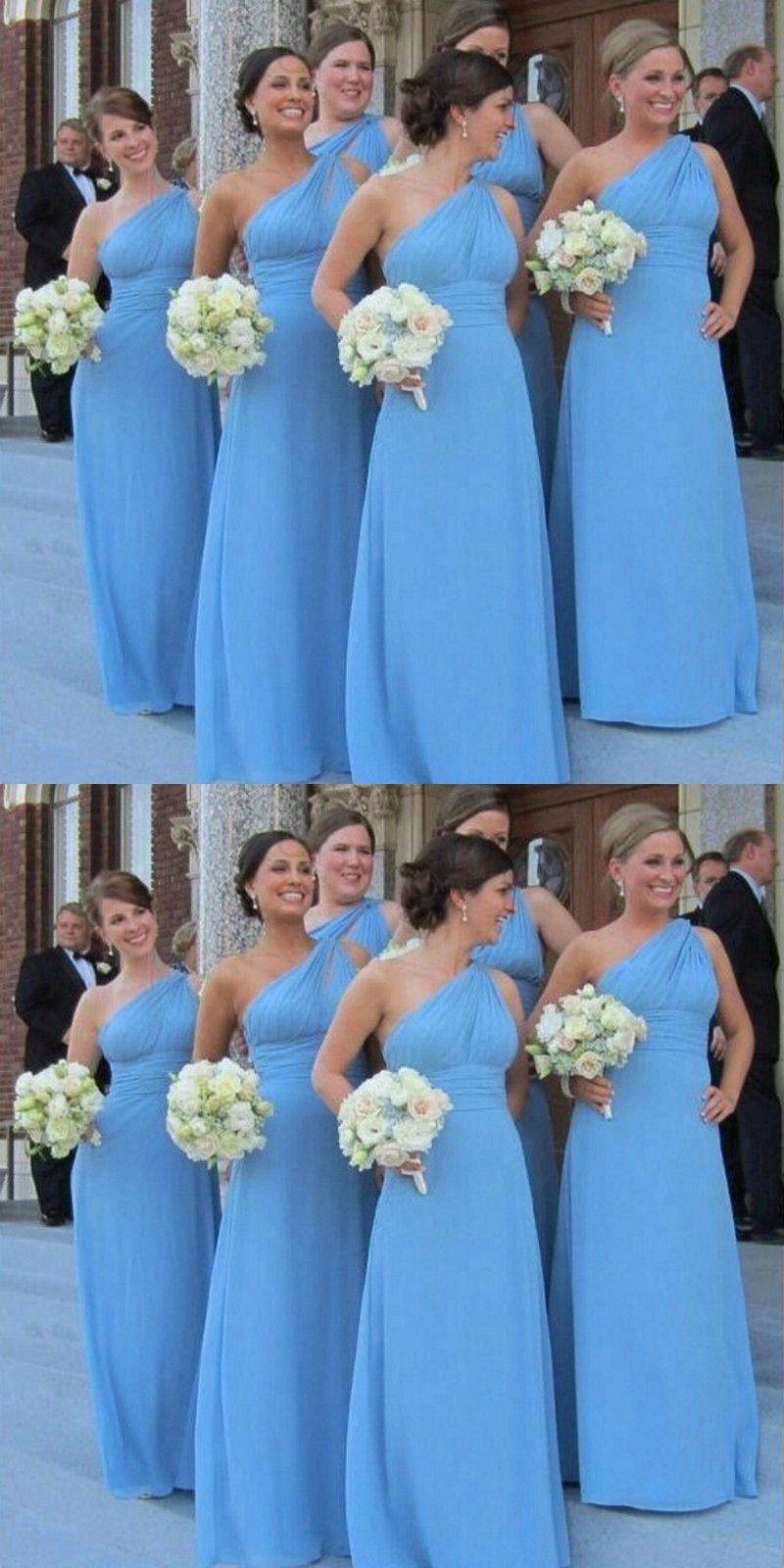 f54a1307d7d Simple One Shoulder Floor Length Sky Blue Bridesmaid Dress in 2019 ...