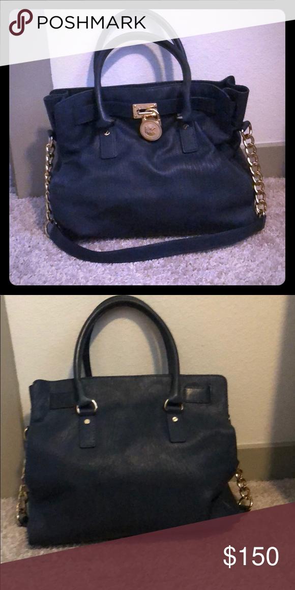 86192517b837 Navy blue Michael Kors handbag Navy blue Michael Kors Hamilton bag. Inside  is in perfect condition Michael Kors Bags Shoulder Bags