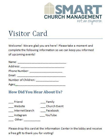 Visitor Card Jpg  Church Ideas    Churches Form Board