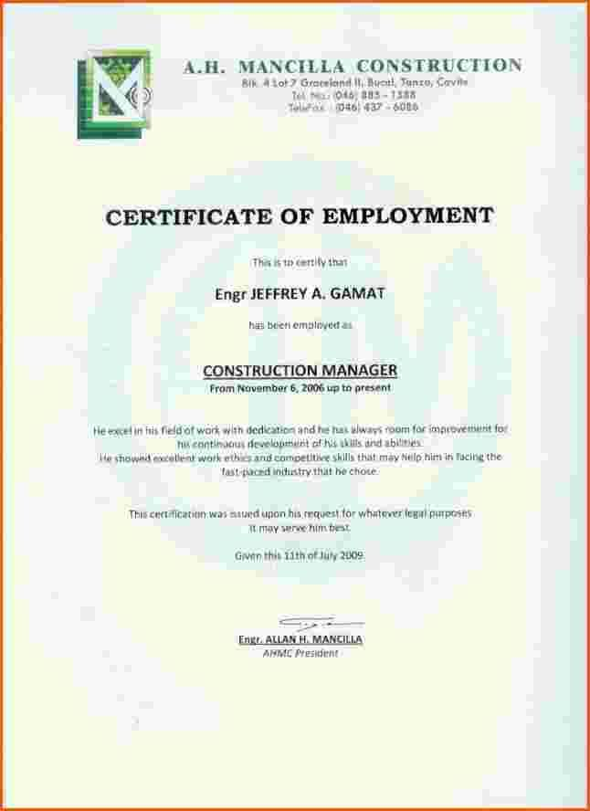 Employment Certificate Work Sample Certification Letter Format