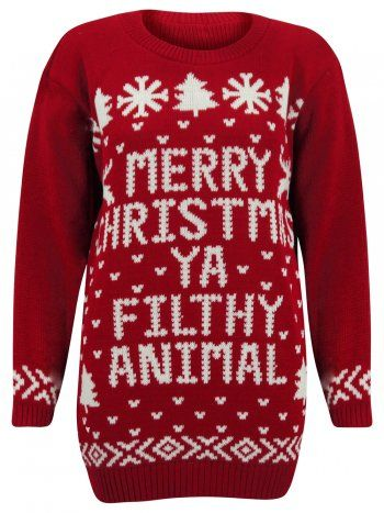 karmaclothing red merry christmas you filthy animal knitted jumper