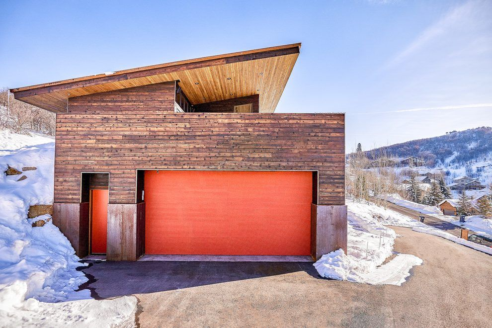Steel Building Homes Garage Contemporary With Orange