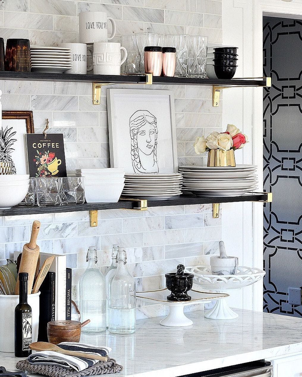 Swoon-worthy open shelf styling via @blissathome1 featuring our ...
