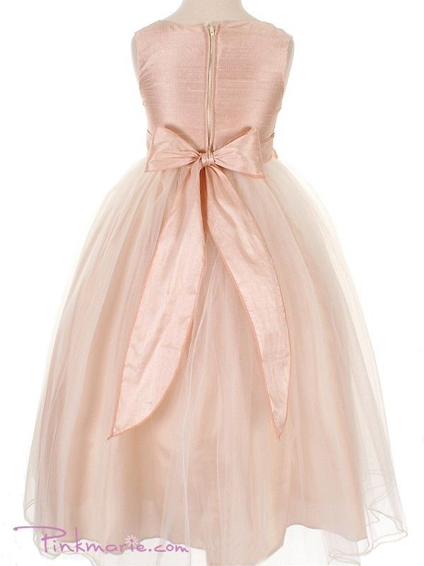 Dusty Rose Silk Bodice with Tulle Skirt Flower Girl Dress | Flower ...
