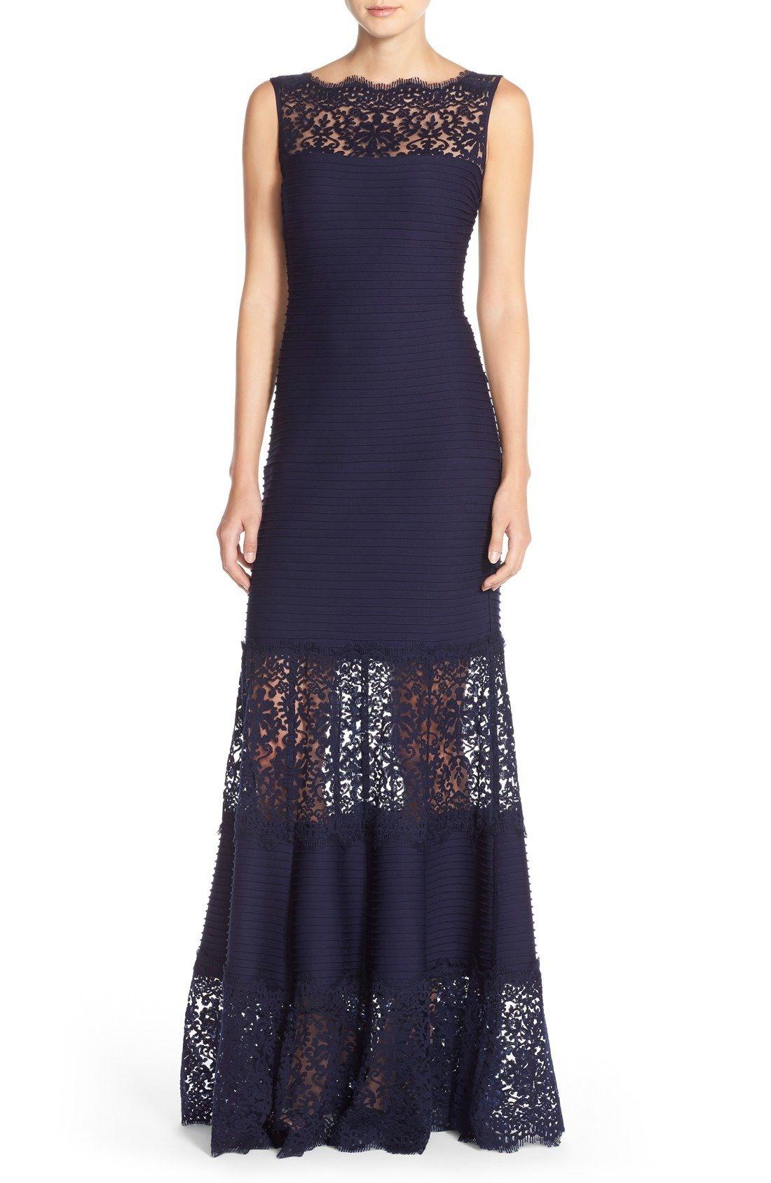 Tadashi Shoji Illusion Lace Pintuck Jersey Gown (Regular | Mother of ...