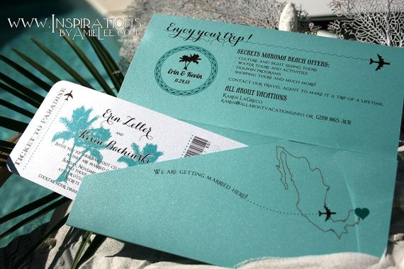 Boarding Pass Wedding Invitations, Airplane Ticket, Destination Wedding, Beach Wedding, Travel theme