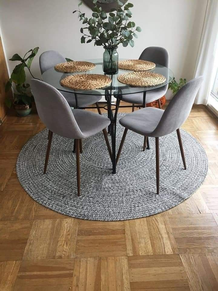I Chose This Because Of The Use Of The Circle The Rug Table And Place Mats Are Round In 2020 Round Dining Room Apartment Dining Room Dining Room Small