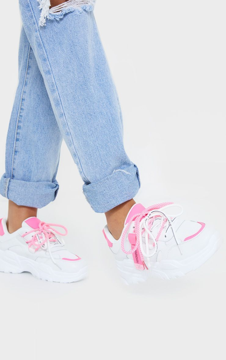 White Contrast Pink Laces Chunky