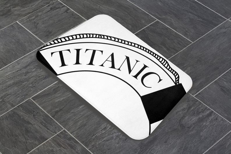 White Shower Curtain Matching Mat Set Titanic Etsy