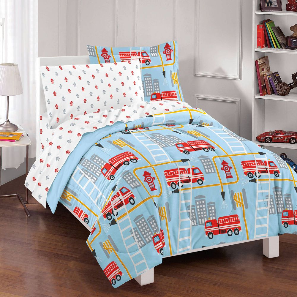 Full Bed In A Bag Boy S Factory Fire Truck Blue Soft Comforter Set