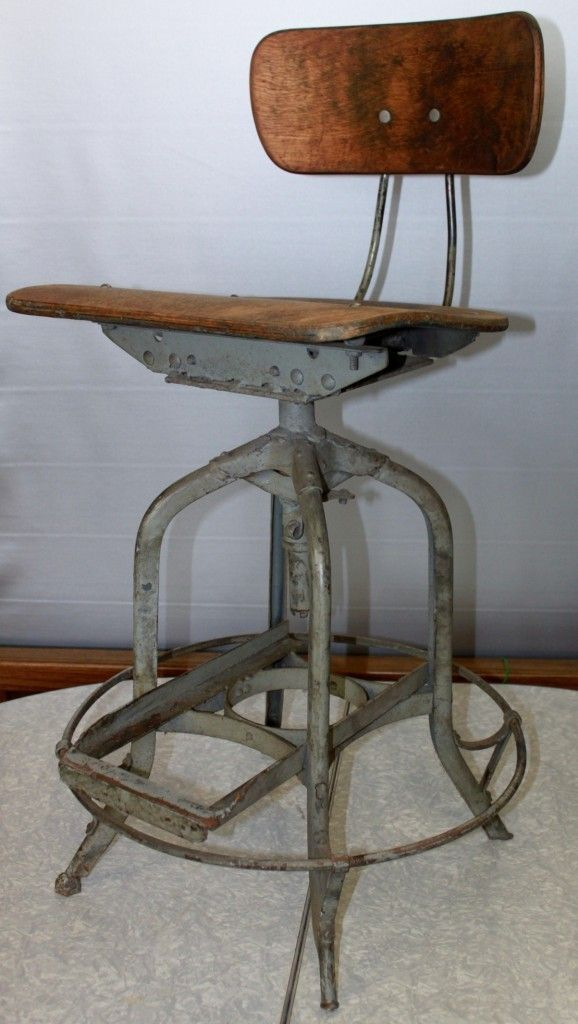 Vintage Uhl Toledo Drafting Stool Chair Industrial Machine Age