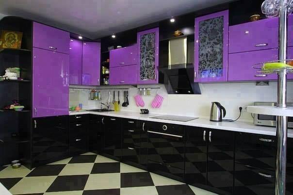 Purple And Black Kitchen