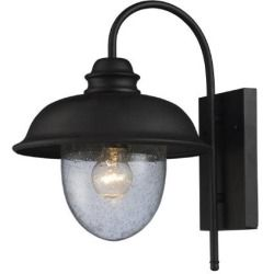 """62000-1 Streeside Cafe 15""""H 1 Light Outdoor Wall Sconce in Matte Black New"""