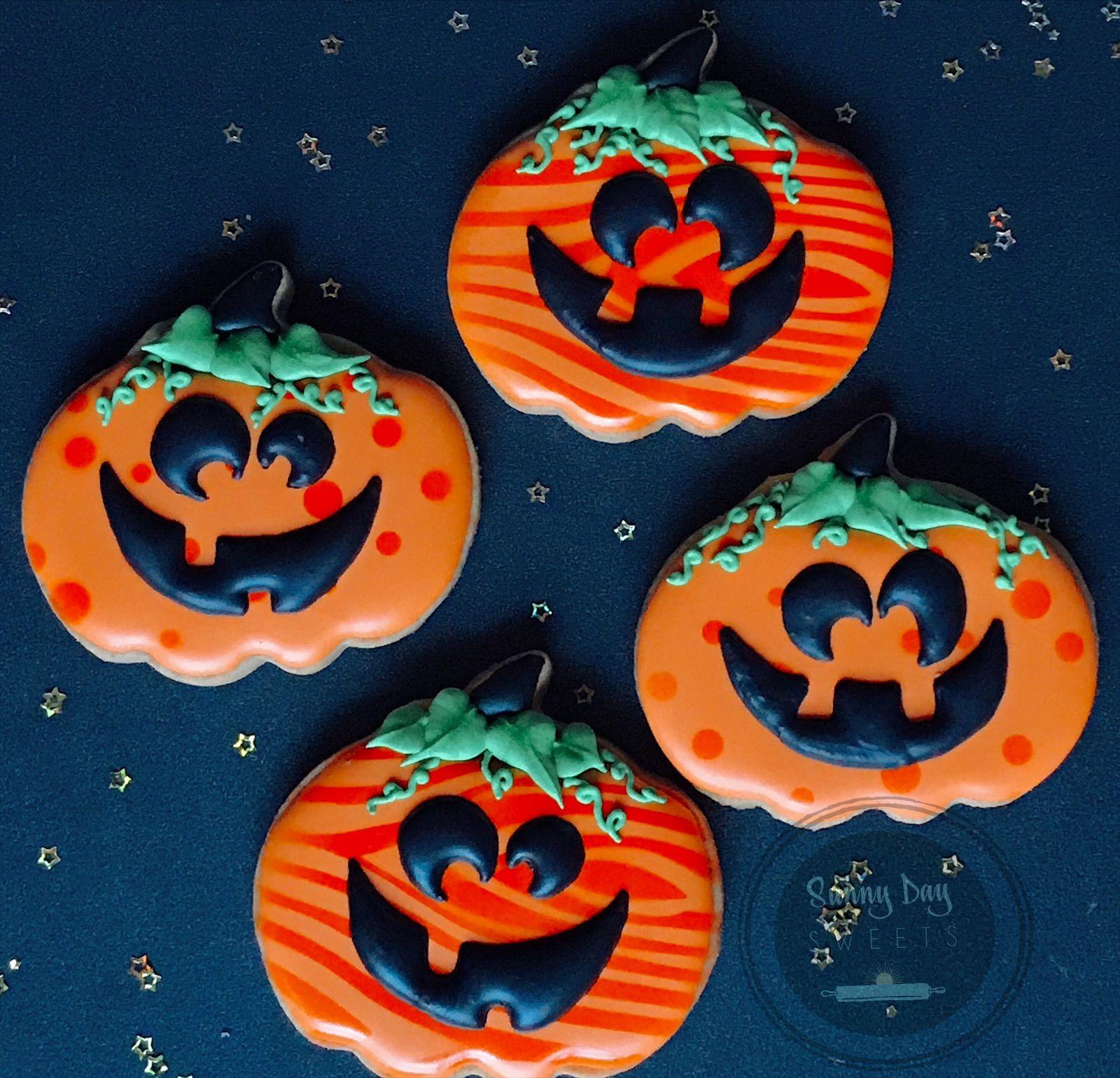 Cute Halloween Jack o Lantern Cookies