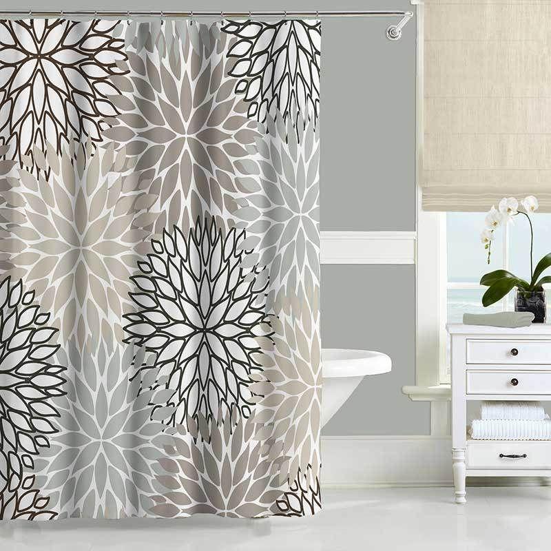 Gray And Beige Shower Curtain Set With Floral Design Bathroom Mat