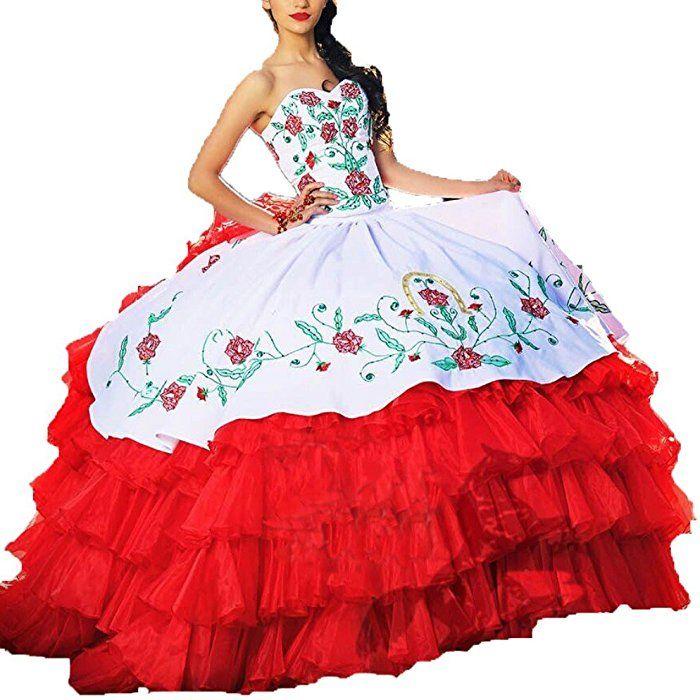 8b46df3c9de Amazon.com  Diandiai Women s White Red Ball Gown Quinceanera Dresses  Embroidery Prom Bridal Dress 6  Clothing