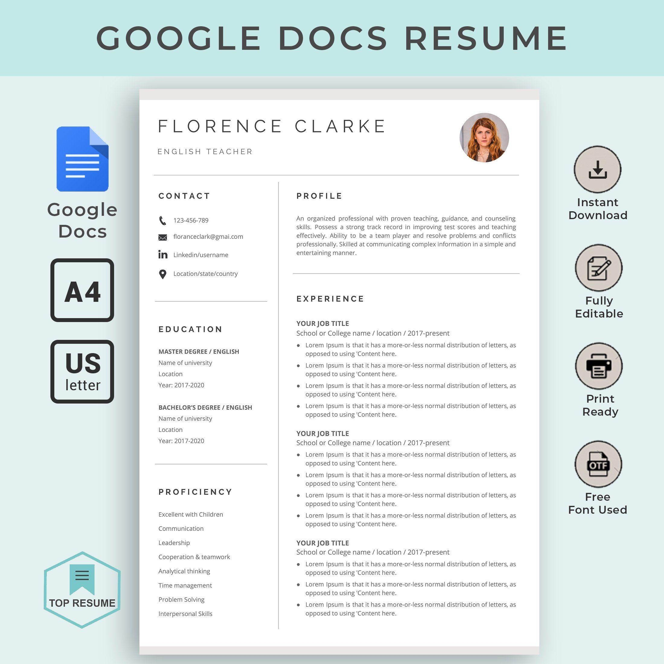 Google Docs Resume Google Docs Resume Template Google Docs Template Instant Downlo Resume Template Word Teacher Resume Template Downloadable Resume Template