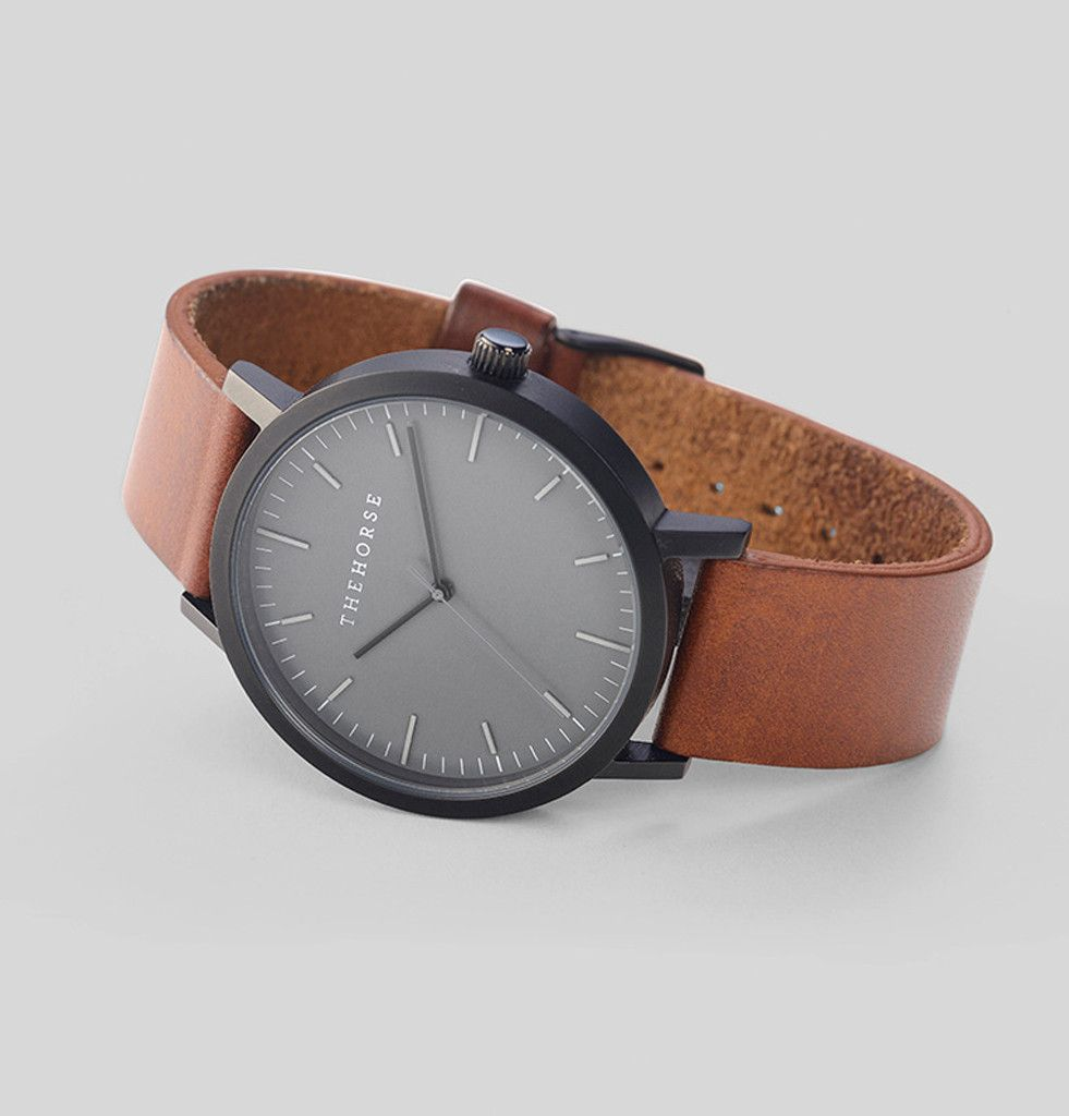 Nothingtochance matte black tan leather watch thehorse a simple take on the classic time for Black tan watch
