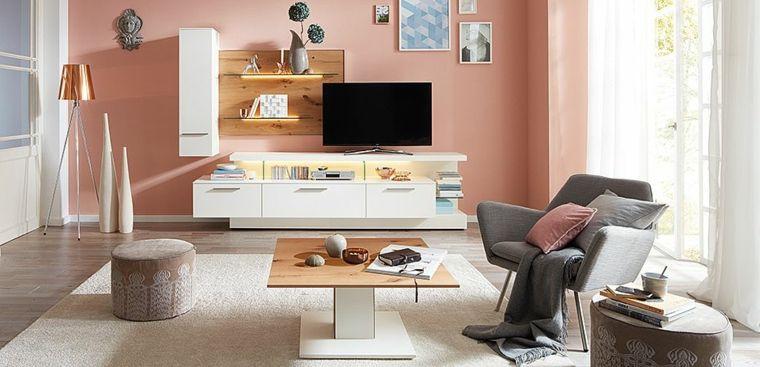 Mobili Soggiorno Moderni E Un Idea Con Parete Rosa E Tappeto Grigio Con Pelo Lungo Idee Di Interior Design Arredamento Salotto Moderno