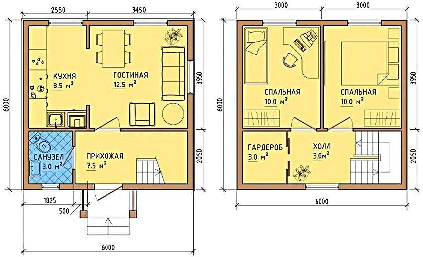 Планировка двухэтажного дома 6 на 6 м: особенности ...