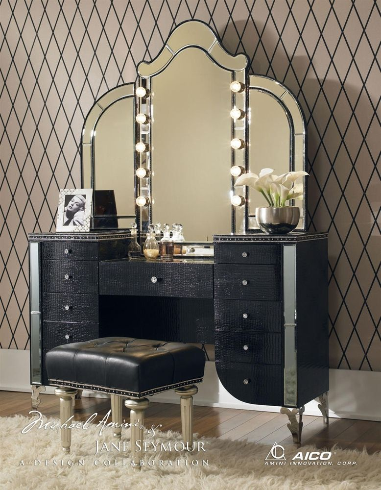 cheap vanity table with lights. Aico Hollywood Swank Vanity with Bench Set 3 Piece in Black Iguana by  Michael Amini Purchae Include Mirror For Individual pieces call Got to have it Pinterest Vanities