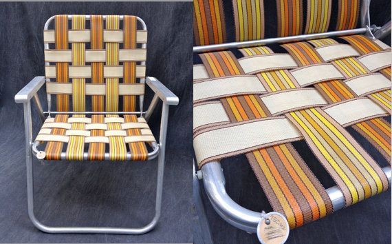 60 S Folding Chair Webbed Aluminum Collapsible By Elkhugsvintage 20 00 Folding Chair Chair Lawn Chairs