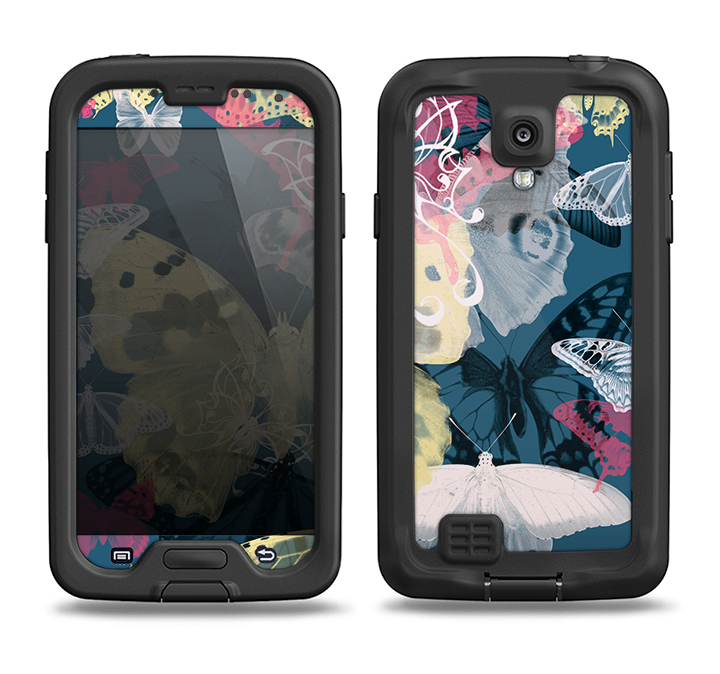 The Multi-Styled Yellow Butterfly Shadow Samsung Galaxy S4 LifeProof Fre Case Skin Set