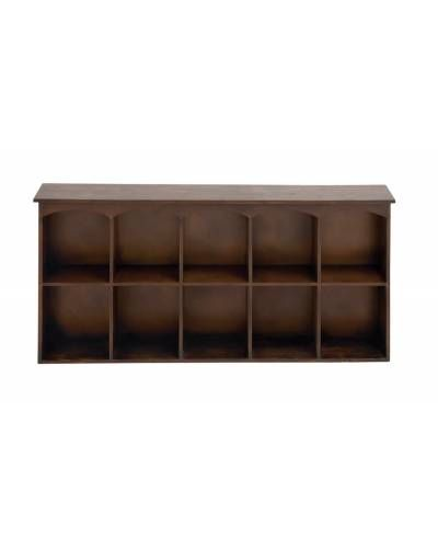 Wooden Wall Mounted Unit In Brown With Ten Cubicle Units Wall Shelves Wood Wall Shelf Shelves