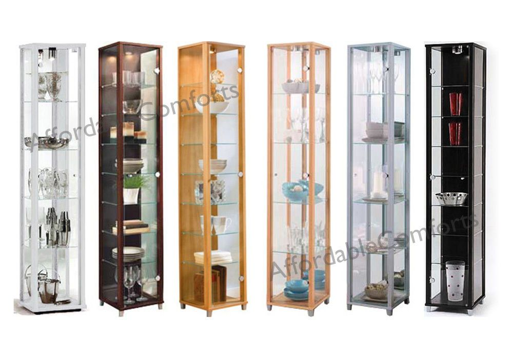 Single Glass Display Cabinet Unit Beech, Silver, Black, White ...