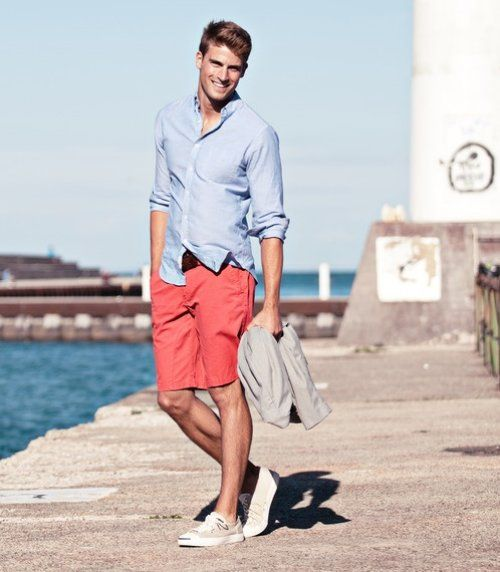 orange shorts and blue shirt for men | Style | Pinterest | Orange ...