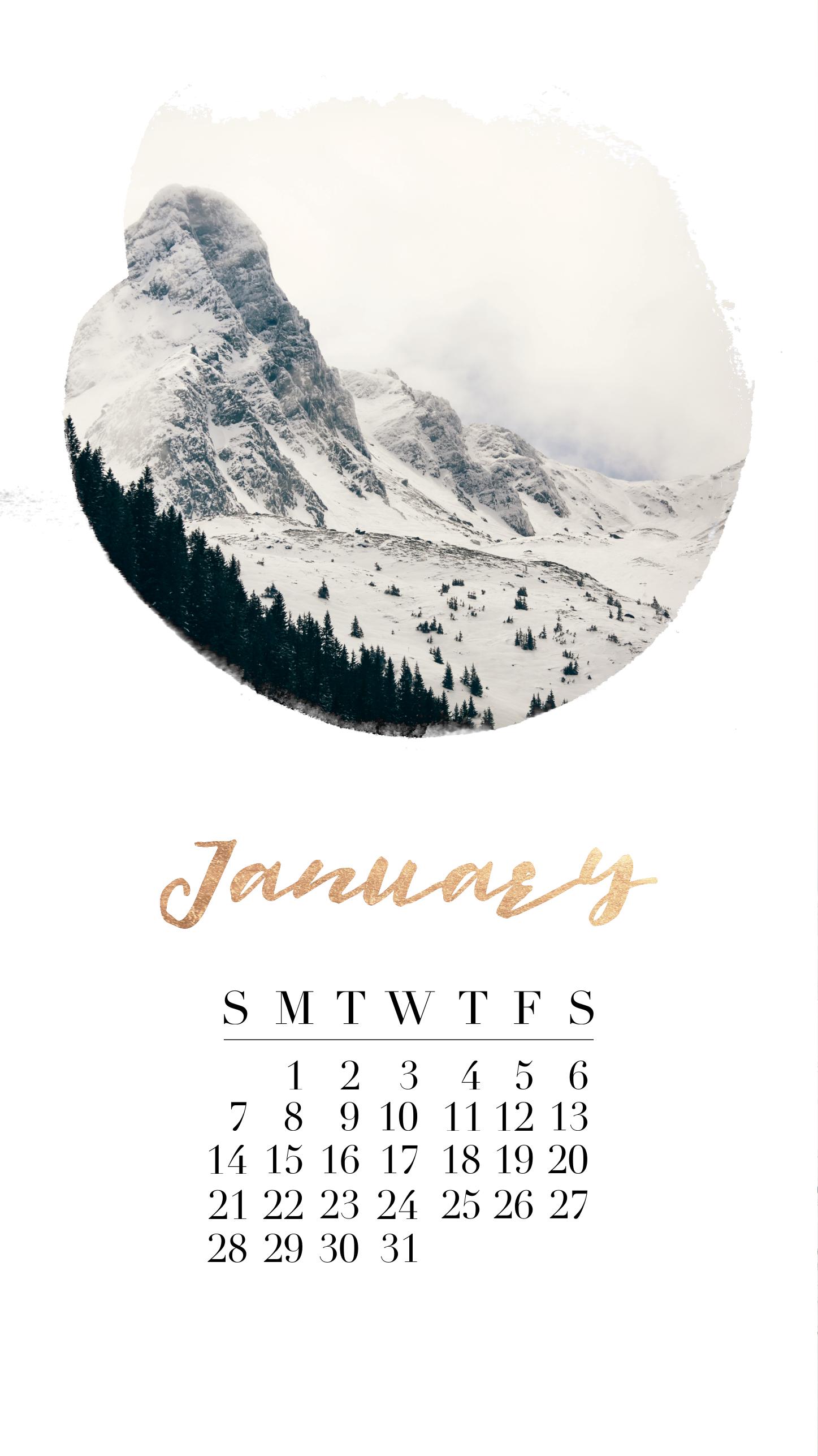 January 2018 Calendar Iphone Background Gold Winter Mountains Calendar Wallpaper Calendar Background January Wallpaper