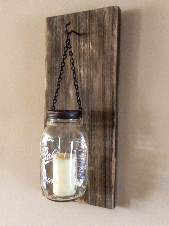 Rustic Mason Jar Wood Wall Sconce Distressed Weathered Brown