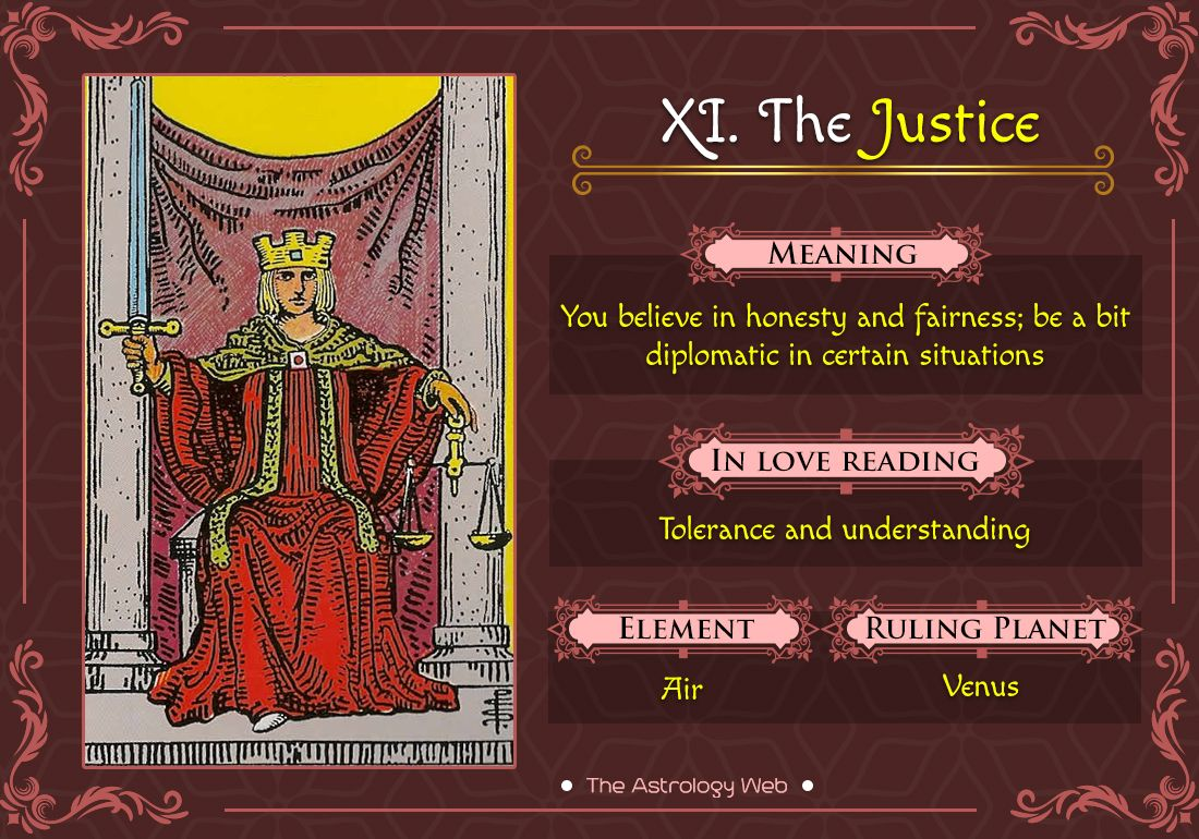The Justice Tarot Meaning In Upright Reversed Love Other