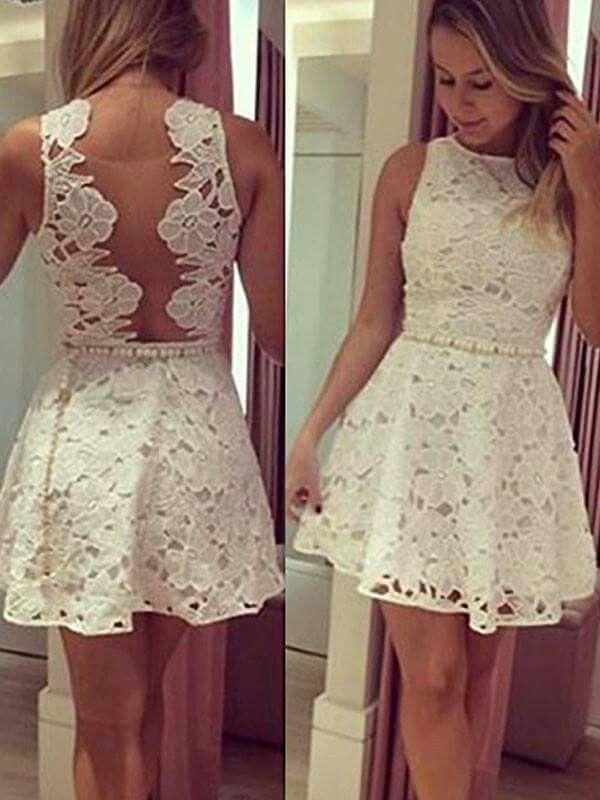 Vestido Blanco Encaje Espalda Descubierta Vestidos De