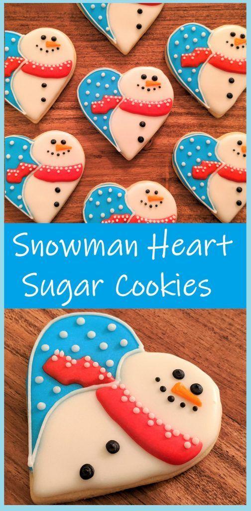 Snowman Heart Sugar Cookies!