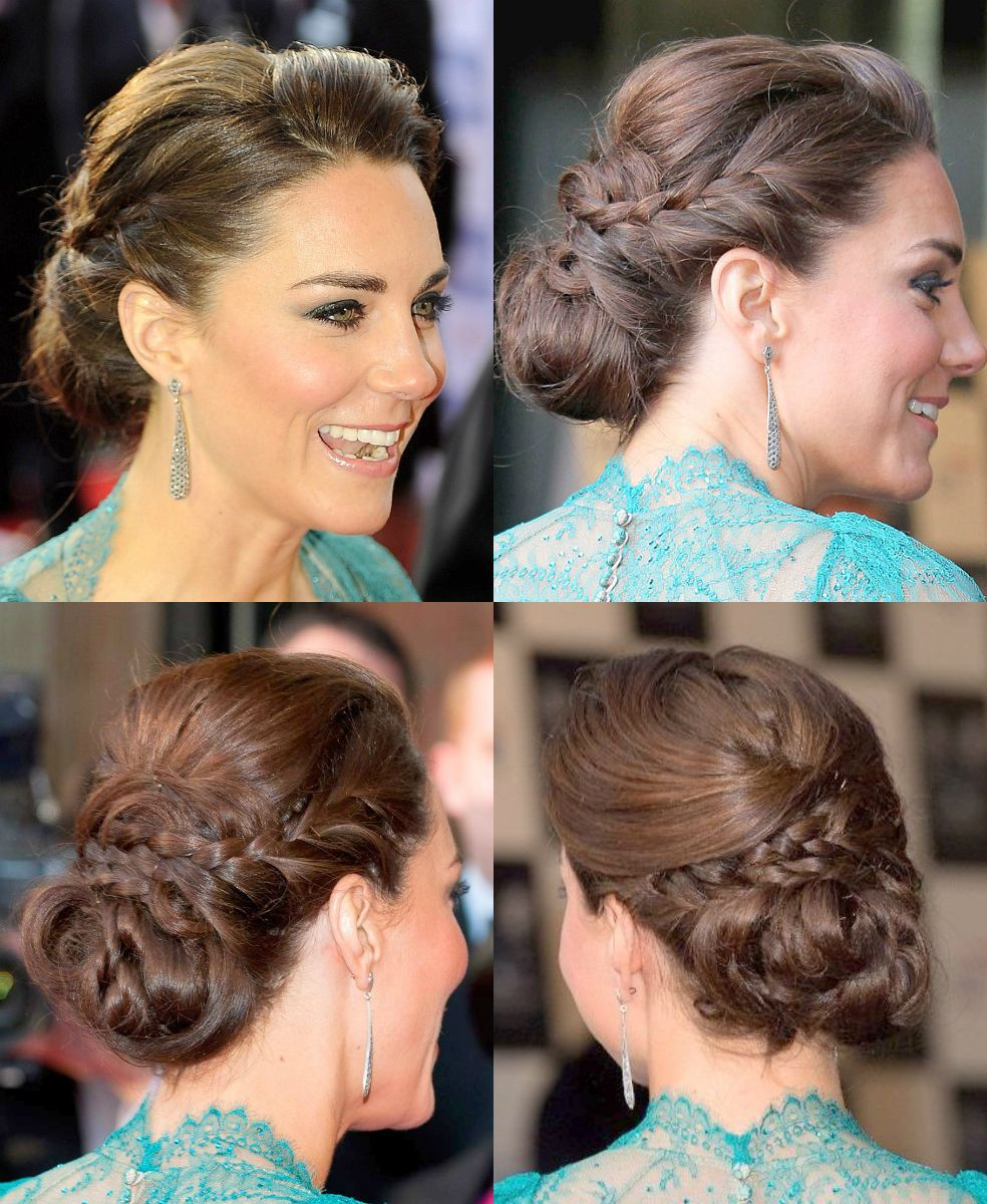 kate middleton updo with braid at olympic concert | hair