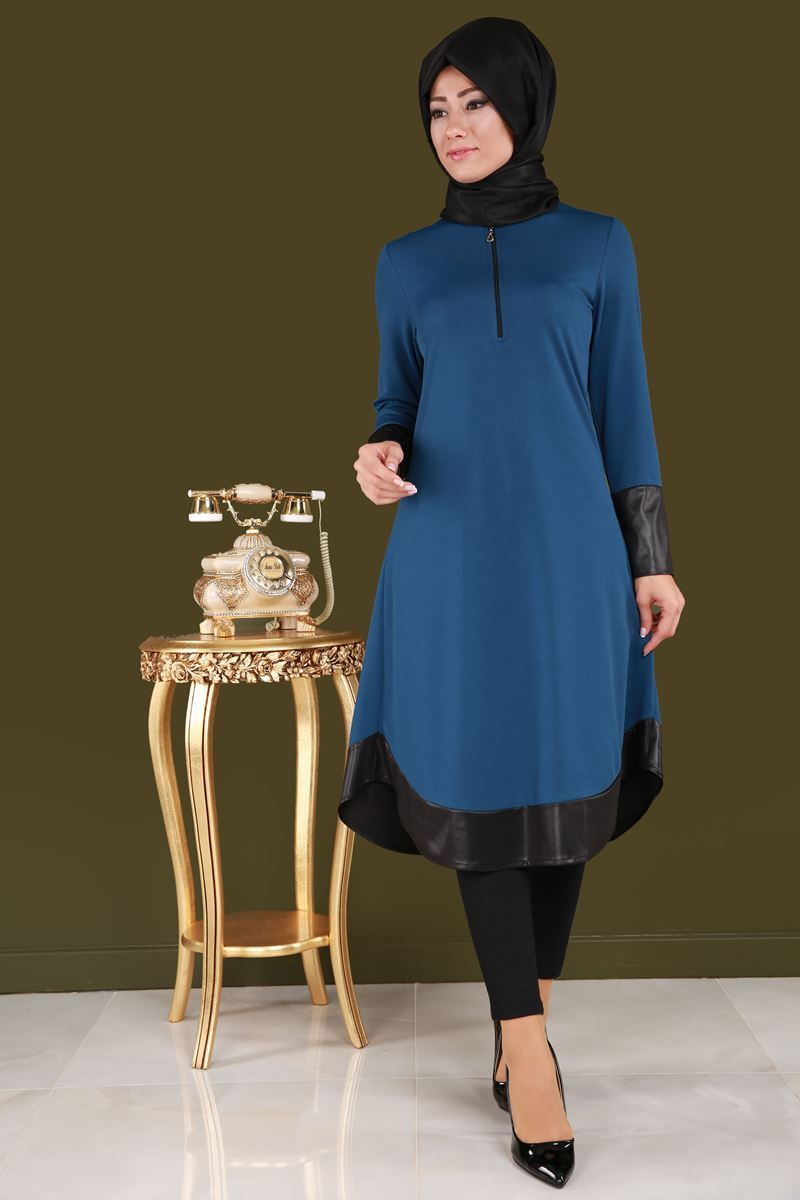 Onden Fermuarli Deri Detay Tunik Indigo Urun Kodu Mdp3066 54 90 Tl Yelek Tunik Bluz Modelleri The Dress Abaya Tarzi Ve Turban Tarzlari