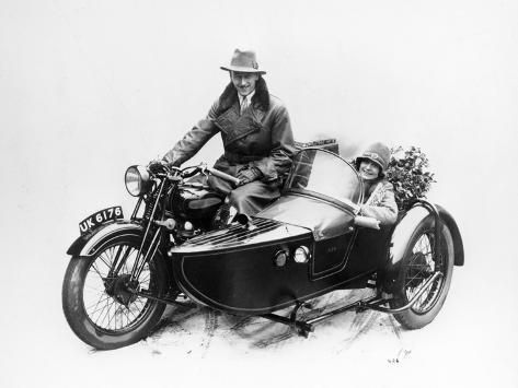Man Riding an Ajs Motorbike with a Woman in the Sidecar, 1939 Photographic Print by | Art.com