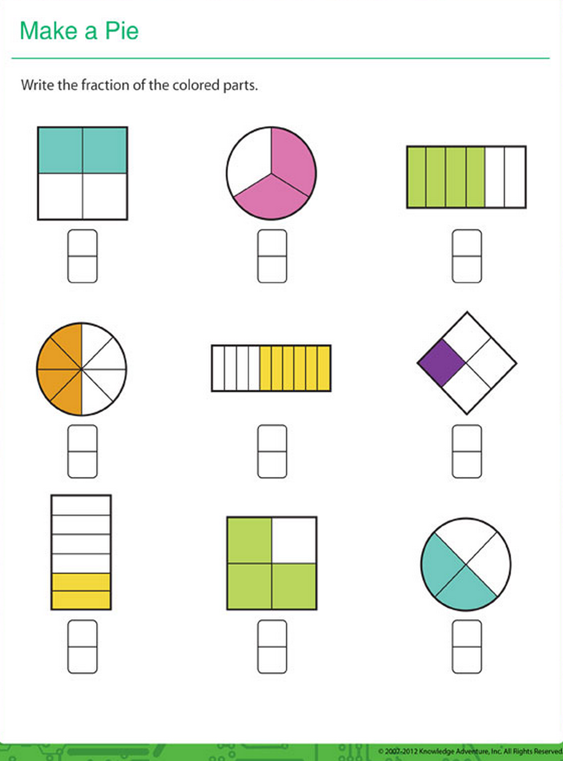 worksheet Shape Fractions what is the fraction for colored parts in each shape against whole