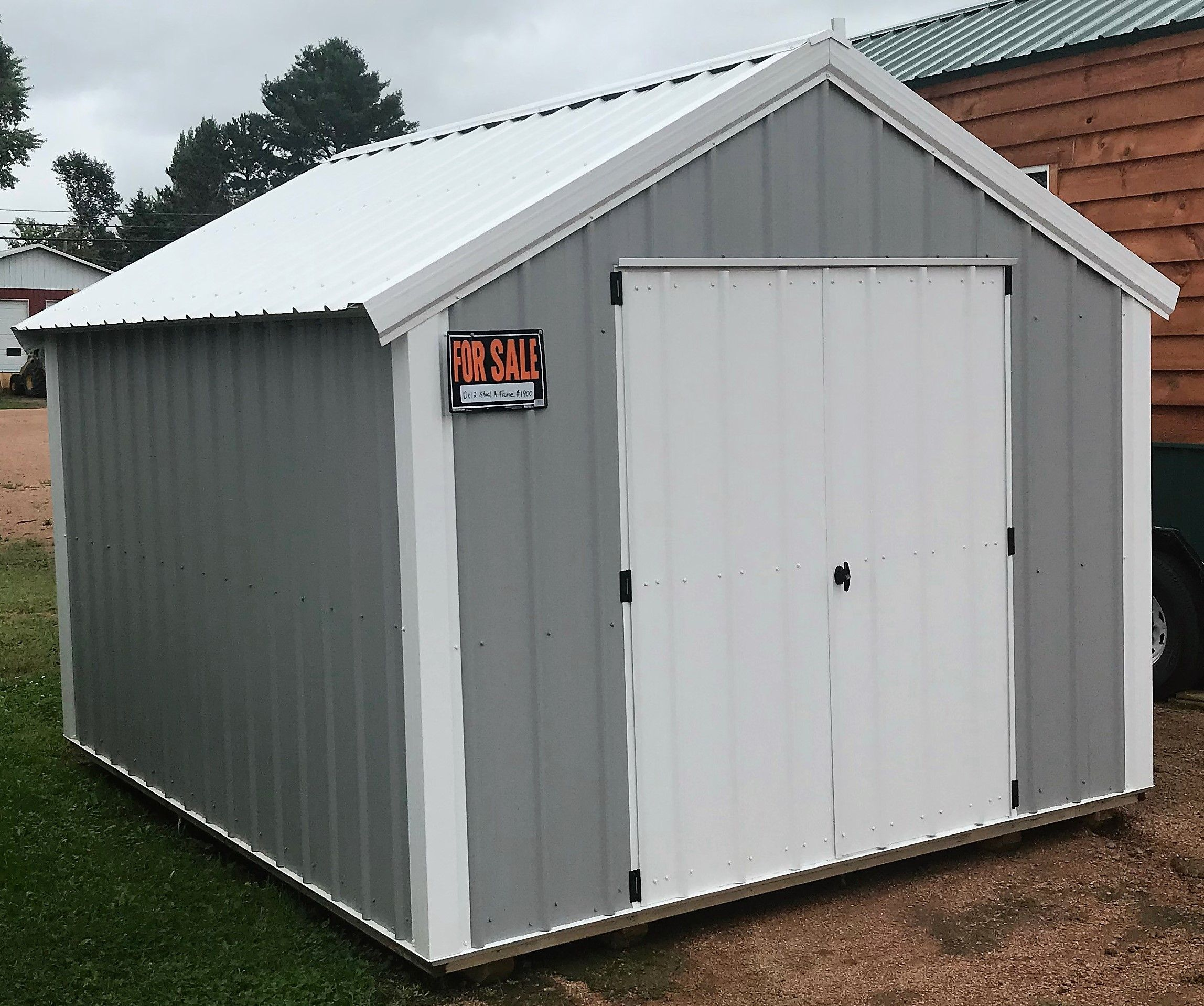 10x12 A Frame Shed Light Gray Steel Siding White Roof And Trim 1900 Steel Siding Shed Mini Barn